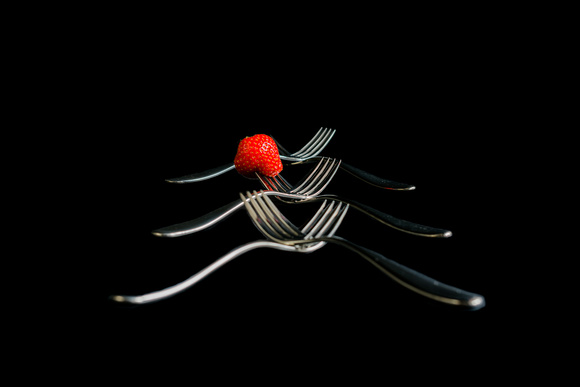 R Gill, Food Photographer, Strawberry ad forks
