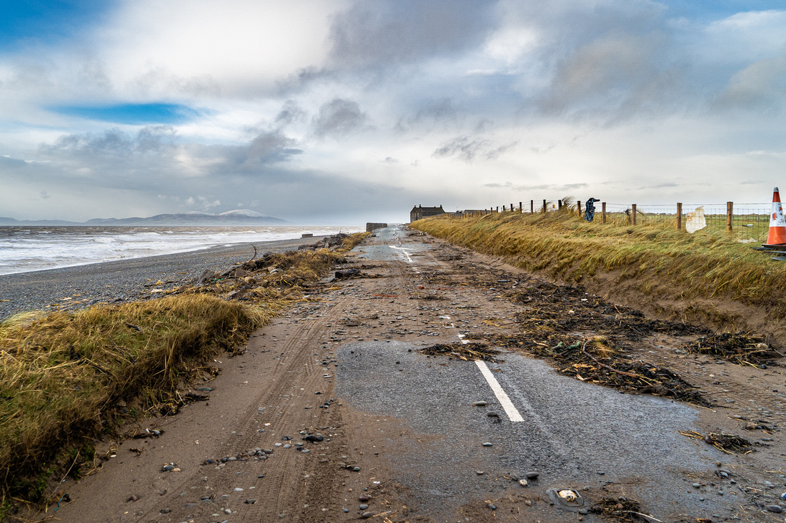 The devastation caused by storm Ciara on the road to Silloth, looking across the Solway