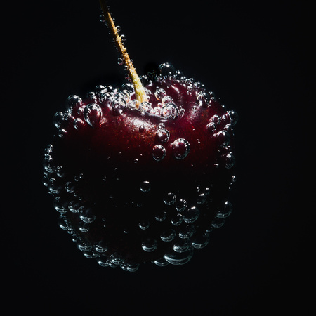 R Gill, Food Photographer, A cherry covered in bubbles