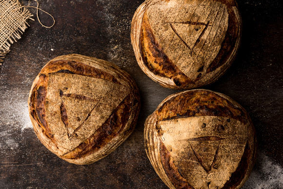 R Gill, Food Photographer, 3 Chilli Sourdough bread loaves